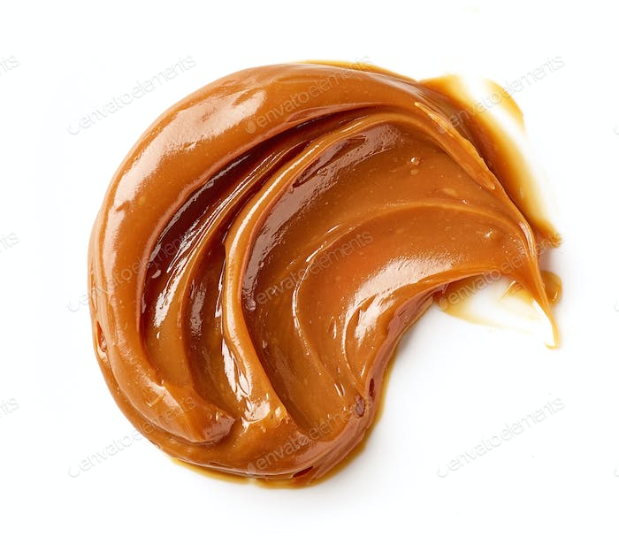 melted caramel on a white background