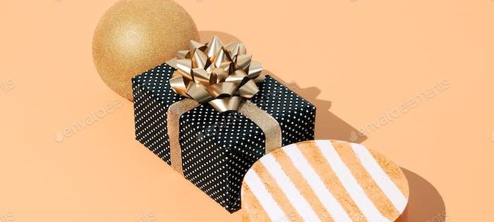 Gift box polka dot and geometry figure in isometric