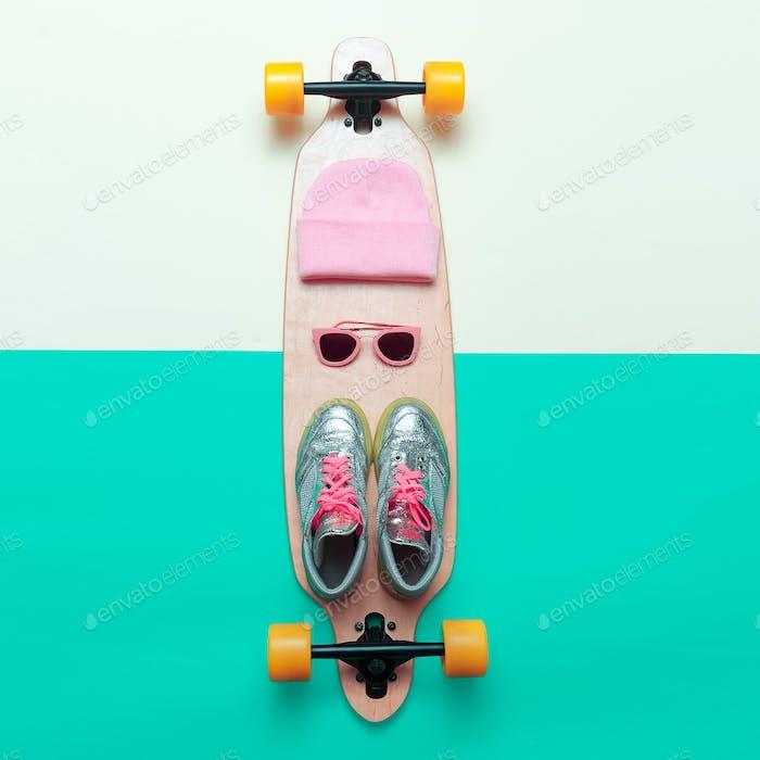 Girls love skateboard. Set skateboarder. Stylish active life. Sn