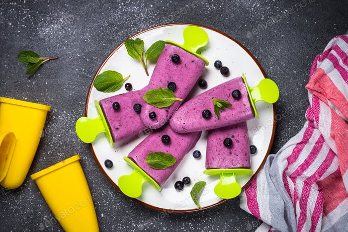 Blueberry ice cream popsicles top view