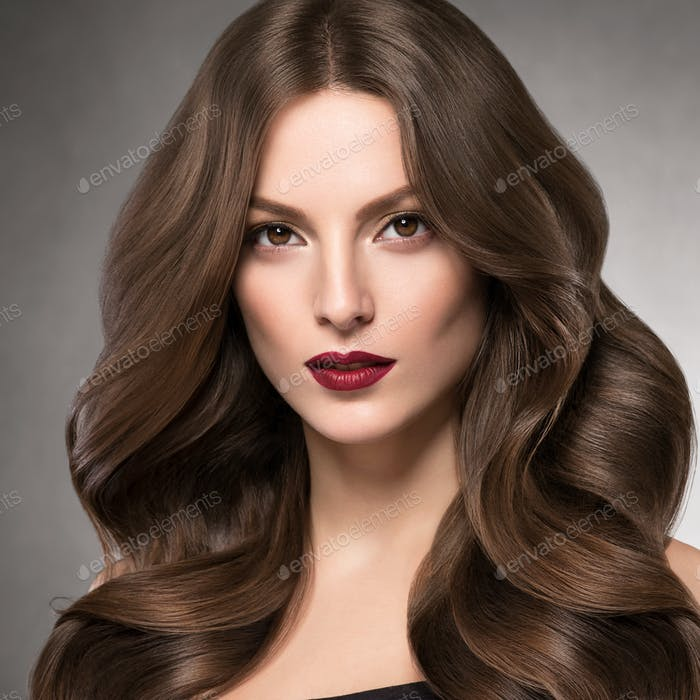 Beautiful brunette hairstyle healthy hair woman portrait