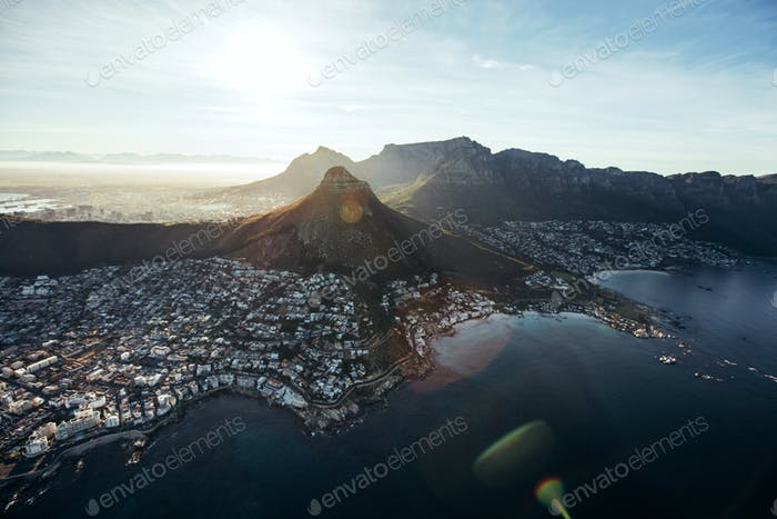 Aerial view of cape town city with devil's peak