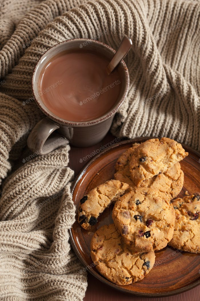 hot chocolate warming drink wool throw cozy autumn cookies