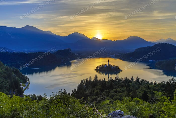 Aerial morning view of lake Bled
