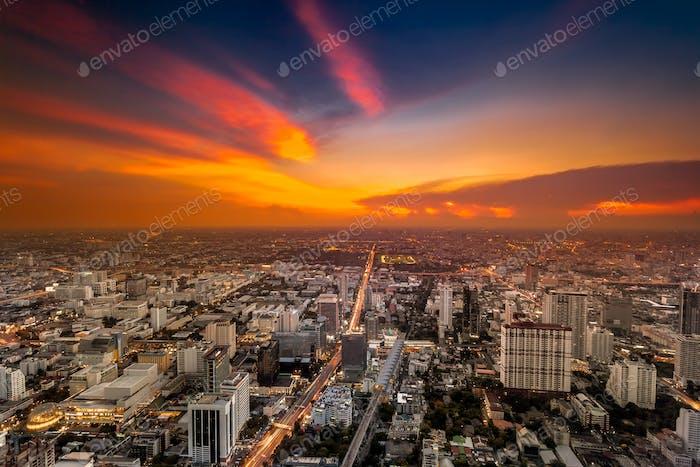 Colorful cityscape in sunset light. Bangkok