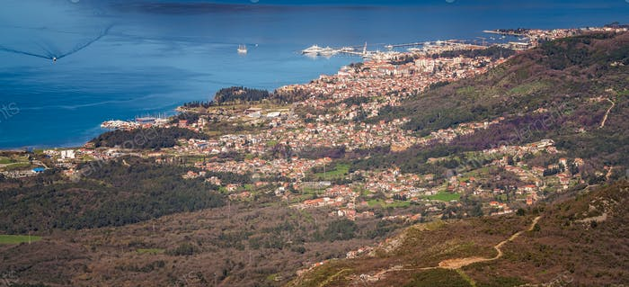 Tivat town and the stunning landscape of the Bay of Kotor