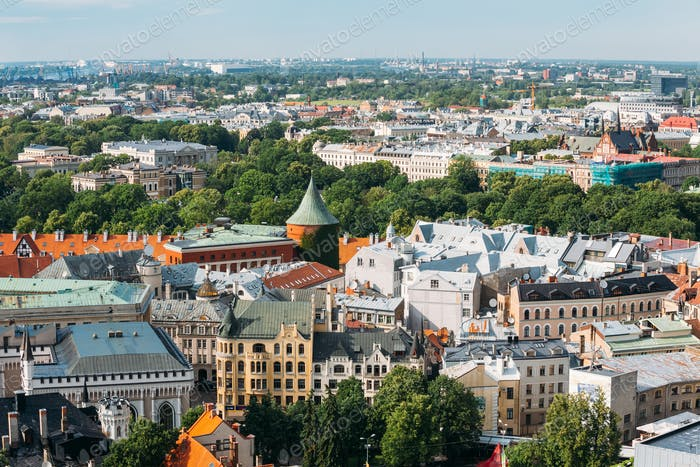 Riga, Latvia. Cityscape In Sunny Summer Day. Famous Landmark - P