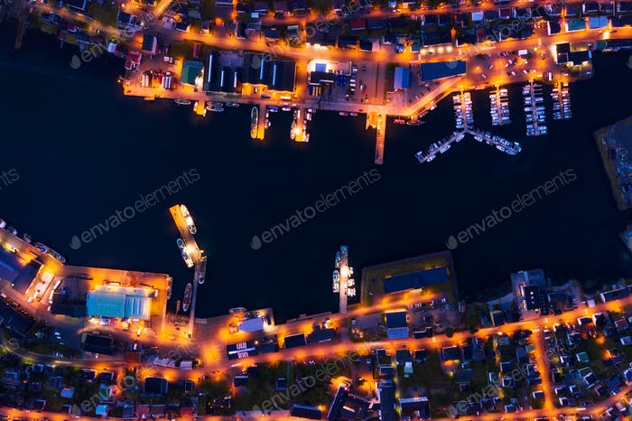 Fantastic aerial evening cityscape of Klaksvik town