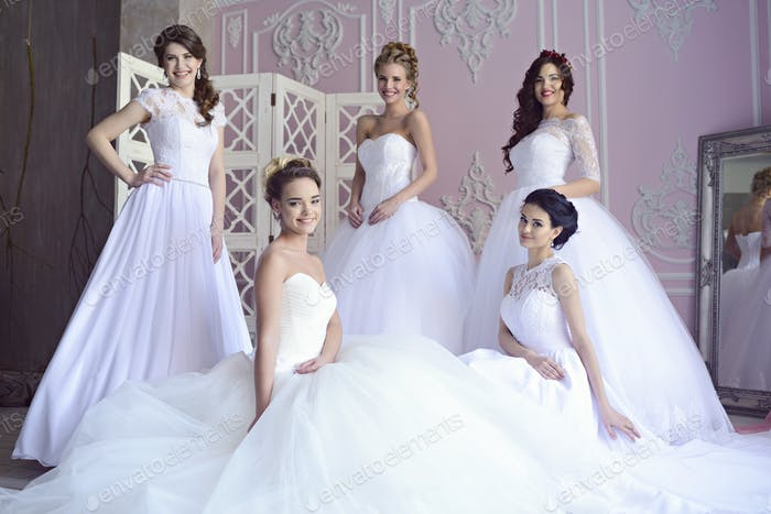 Beauty brides in bridal gowns indoors