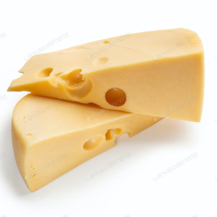 Cheese chunks on white
