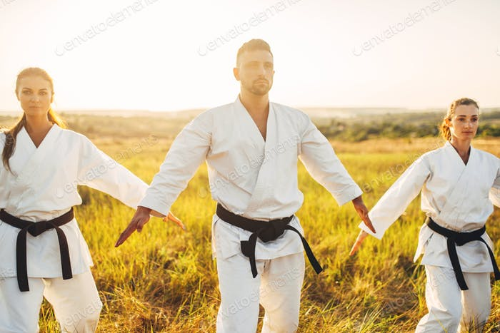 Two female fighters on karate training with master