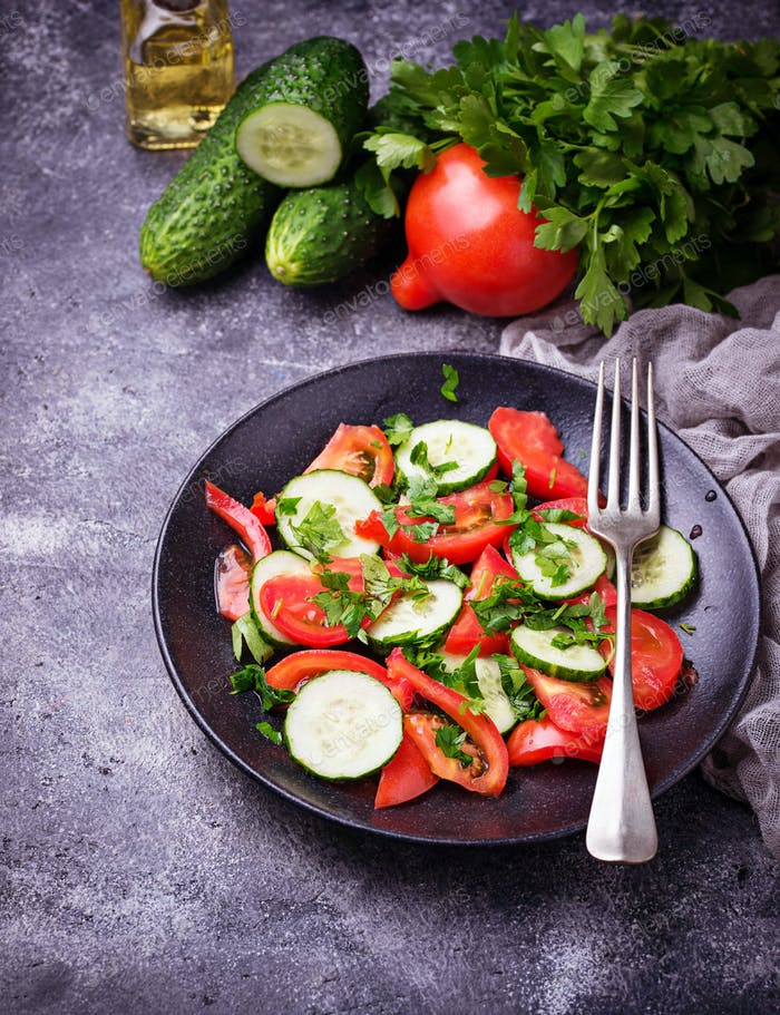 Vegetable salad with cucumber and tomato