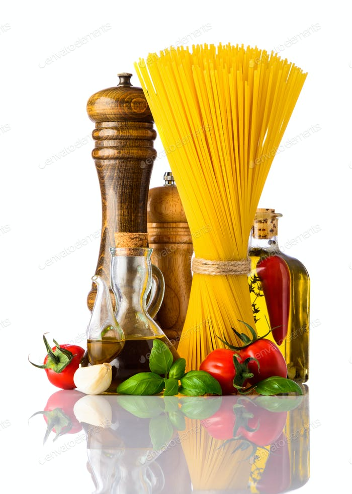 Spaghetti and Italian Cuisine Food on White Background