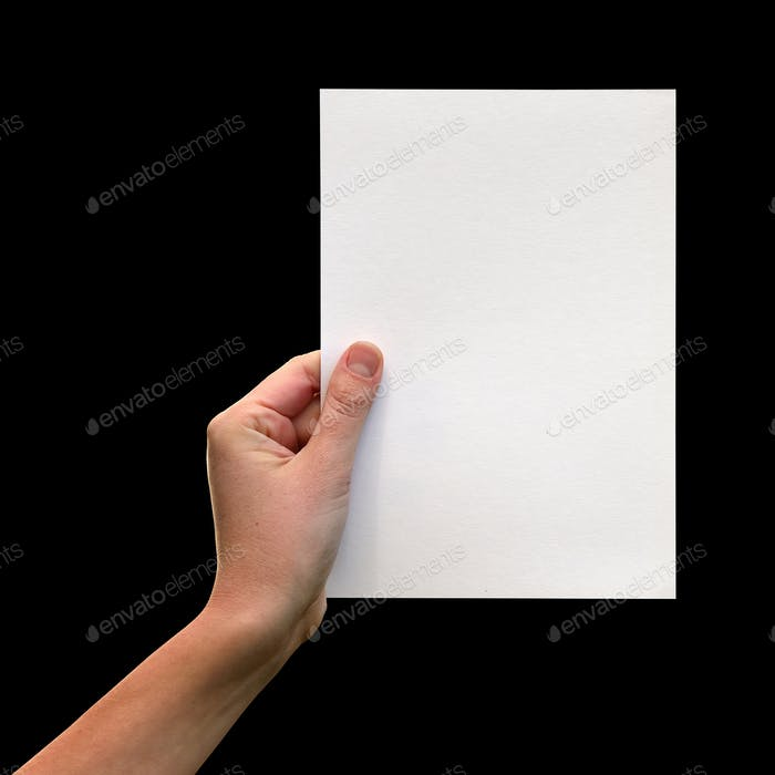 Female hands with clean sheet of paper