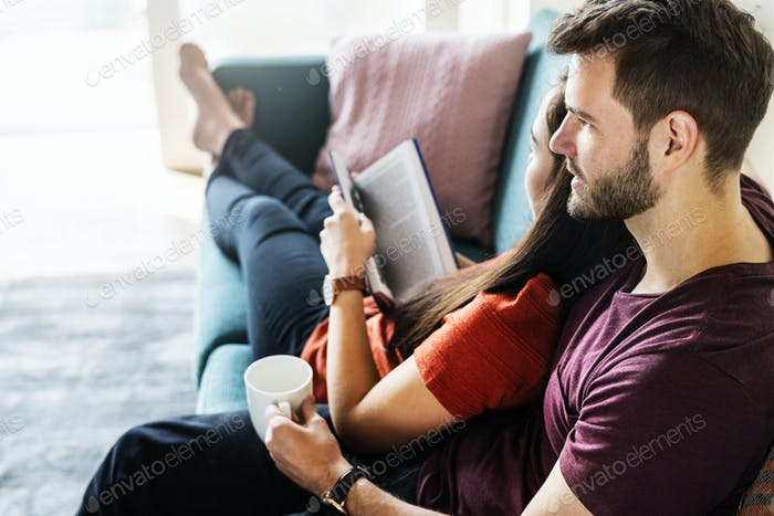Couple spending weekend together at home