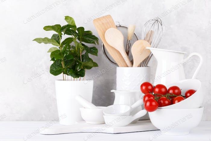 White modern kitchen utensils