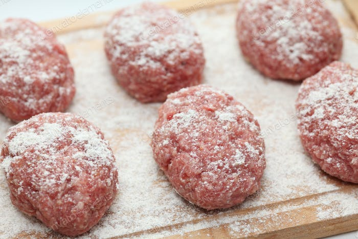 Raw pork patties