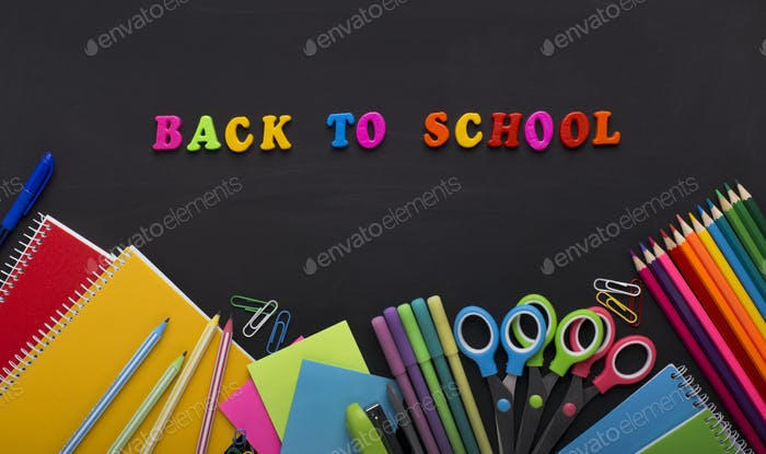 Back to school colored cubes with office stationery