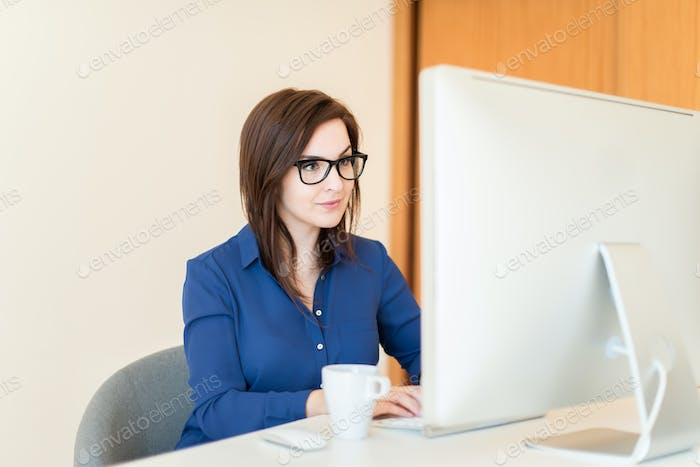 Woman on desk