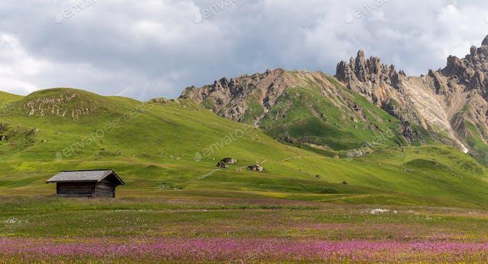 Sommer in der Dolomitenlandschaft an einem sonnigen Tag