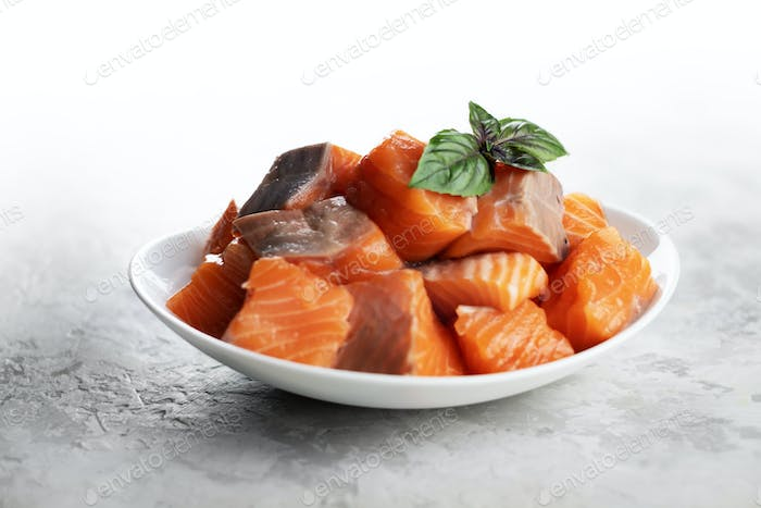 Pieces of salmon trout fillet fish