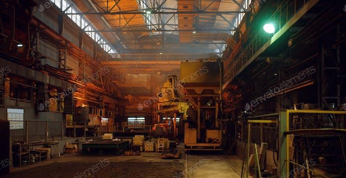 Interior of steel factory, metallurgical or metalworking industry