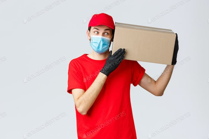 Packages and parcels delivery, covid-19 quarantine delivery, transfer orders. Curious courier in red