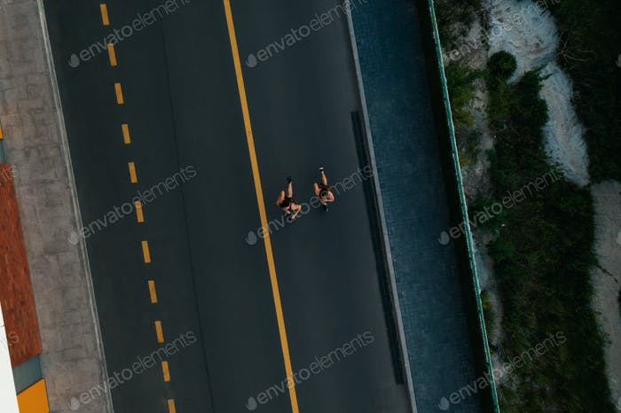 Aerial view of two girls jogging
