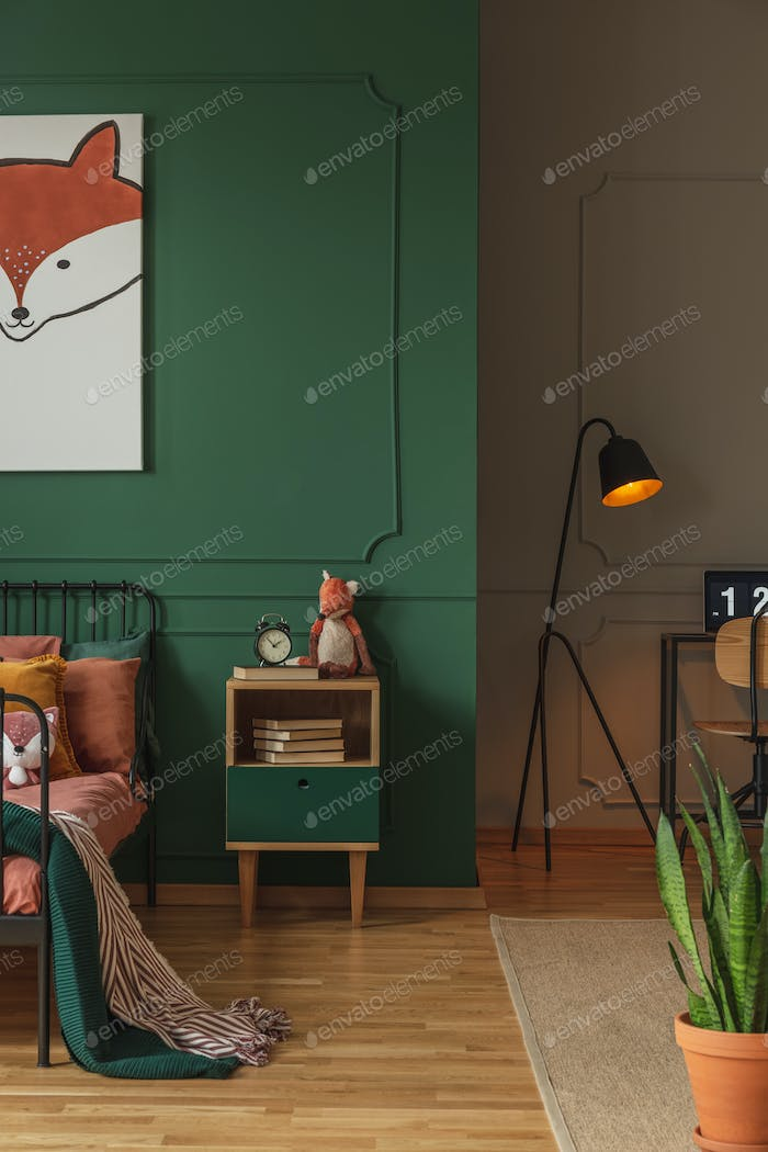 Fox head on vertical poster in emerald green teenager bedroom