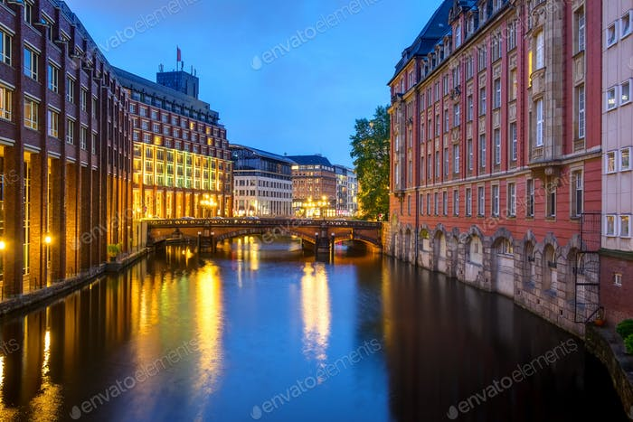 Canal at dawn in Hamburg
