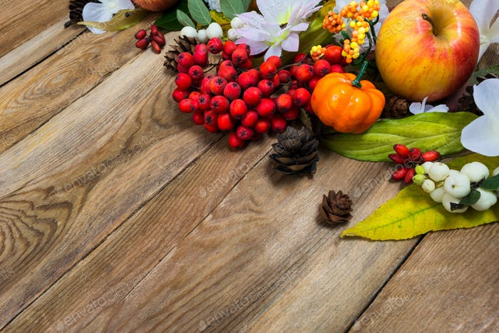 Fall decor with small pumpkin on wooden table, copy space