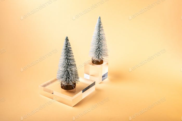 Xmas tree on Acrylic Solid Display Block