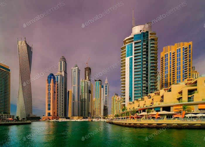 Amazing dubai marina skyline, Dubai, United Arab Emirates.