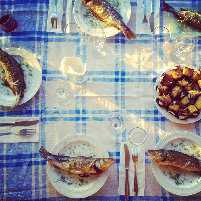 Fried Fish On The Served Table