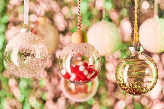 Spherical decorations filled with tiny stuff and other decorative balls