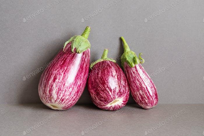 Reife violette Aubergine Aubergine Aubergine auf grauem Hintergrund