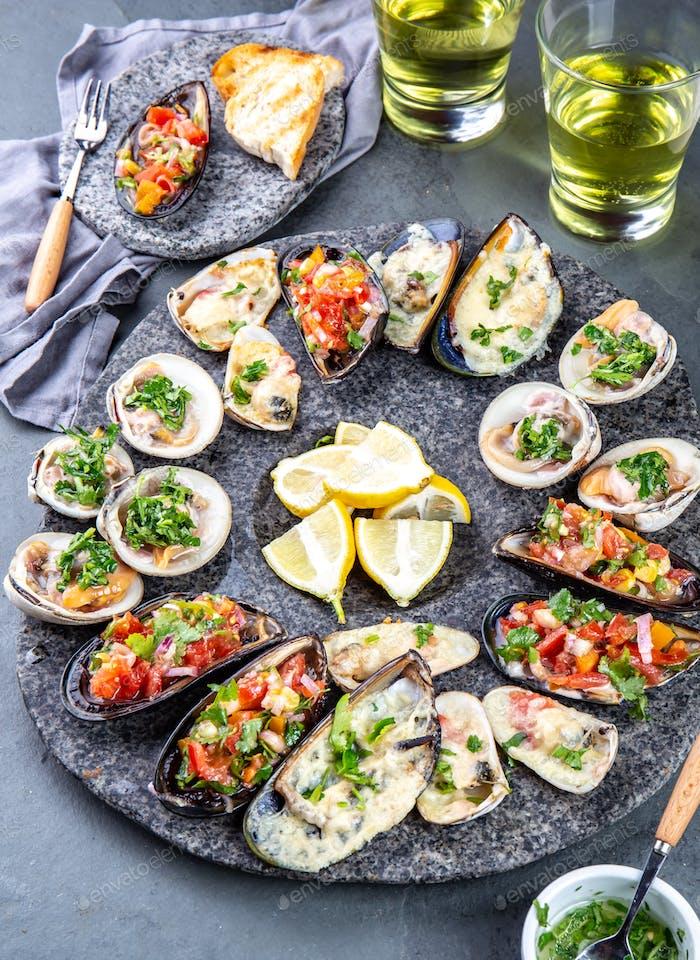 Seafood assorted platter Macha and mussels a la parmesana, mussels a la chalaca