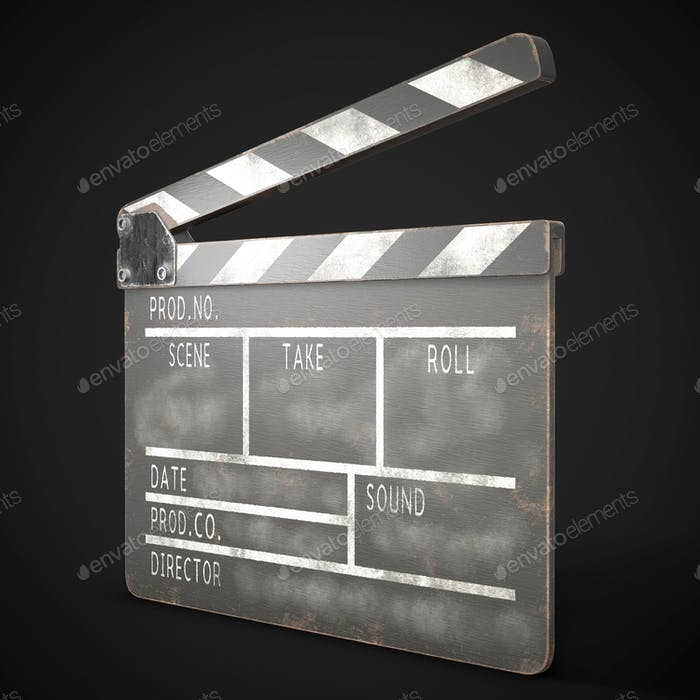 Old clapperboard on a dark background.