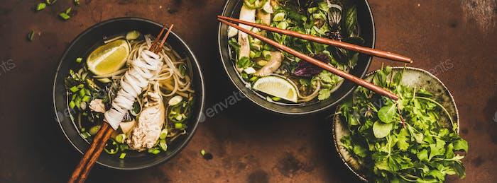 Vietnamesische asiatische traditionelle Suppe Pho Ga, breite Zusammensetzung
