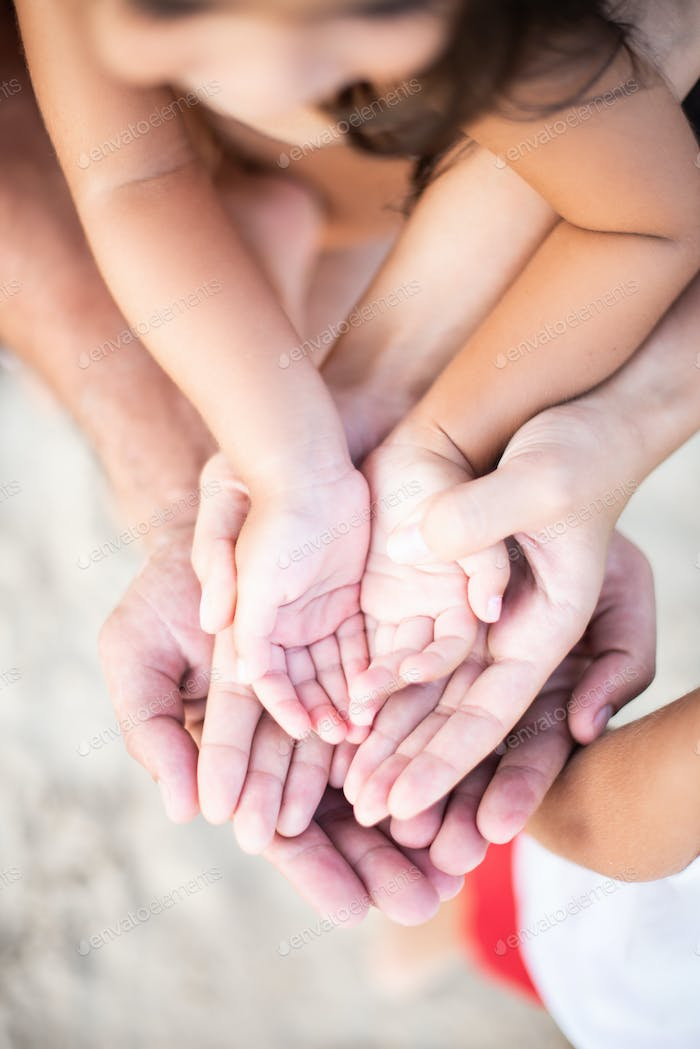 Bonding of full family they pose holding their hands together
