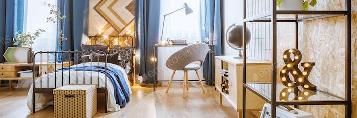 Metal rack in bedroom interior