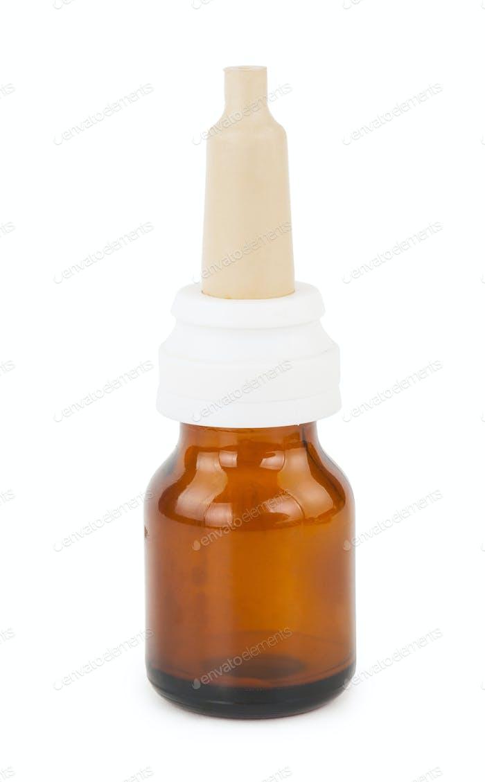Braune Glasfläschchen mit Nasentropfen