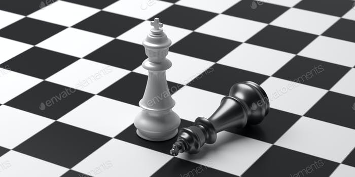 Schachkönige weiße und schwarze Farbe auf Schachbrett Hintergrund. 3D Illustration