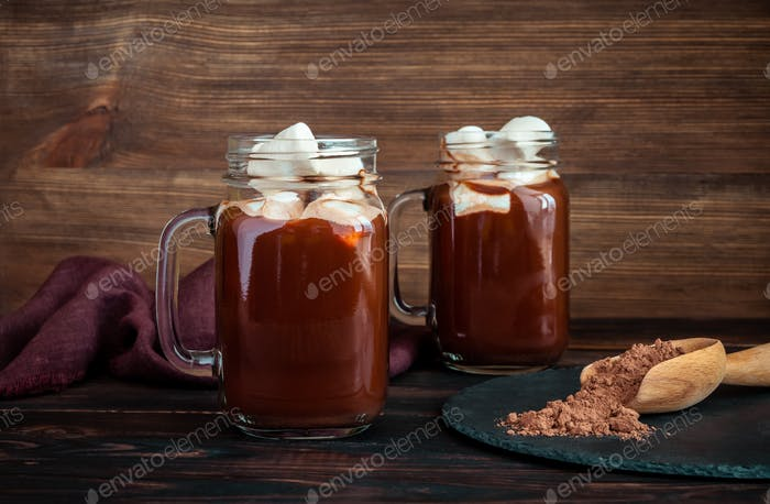 Jars of hot chocolate