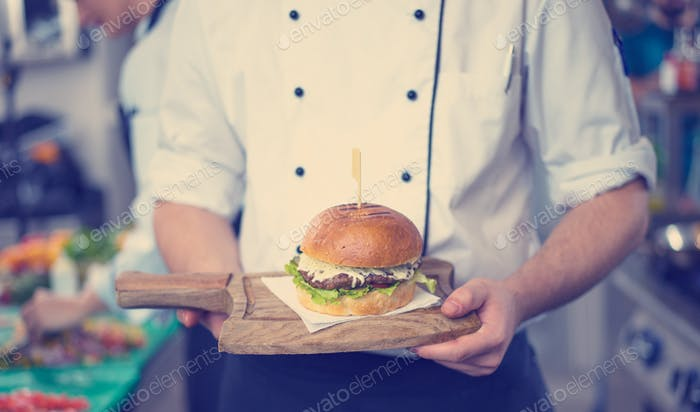 Chef Finishing Burger