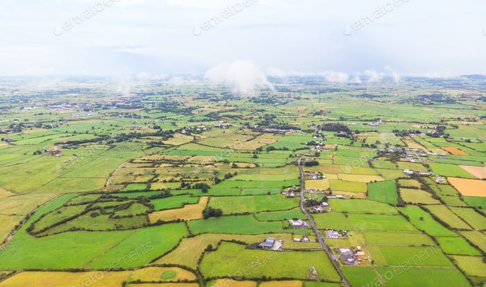 Aerial View of Irish Farms and Houses
