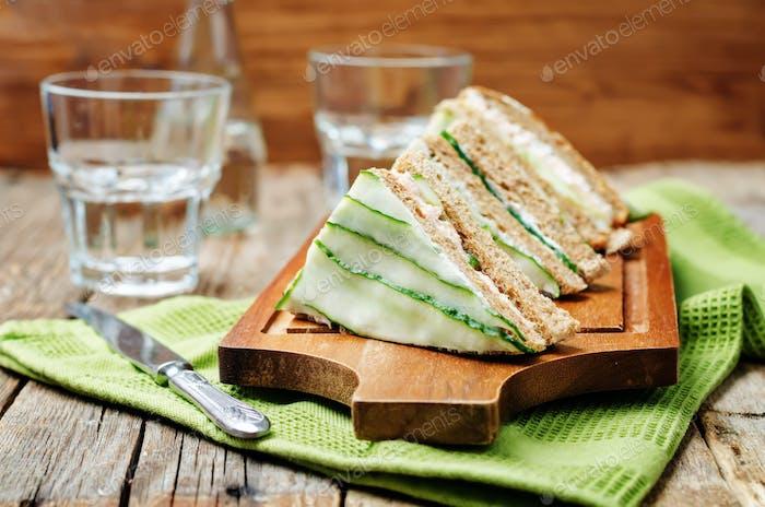 Salmon Greek yogurt cucumber rye sandwiches