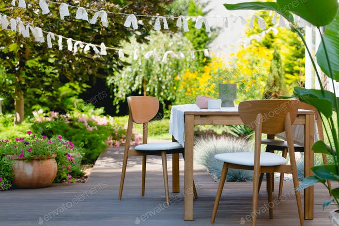 Wooden table in the garden