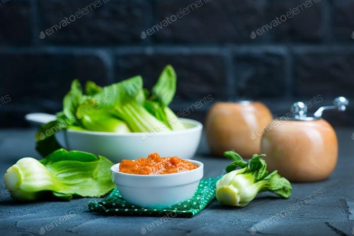 pak choi with sauce