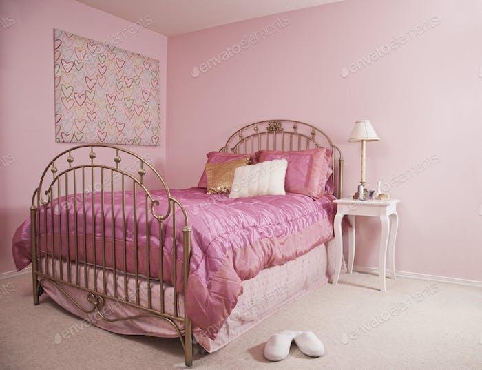 Rosa Schlafzimmer-Interieur